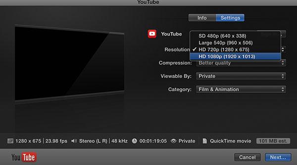 Youtube-Export-Settings