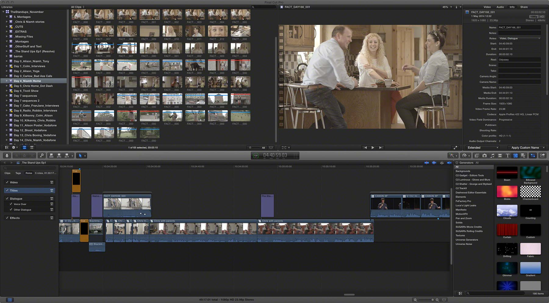 TSU1 Documentary Timeline in FCPX