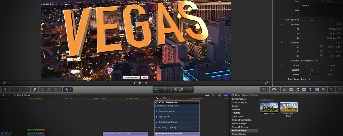 Fly though 3D text in Final Cut Pro X