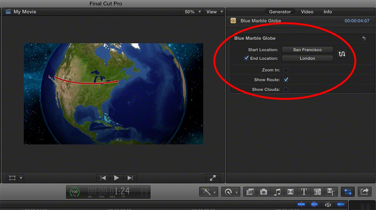 Getting iMovie world travel maps into Final Cut Pro X the