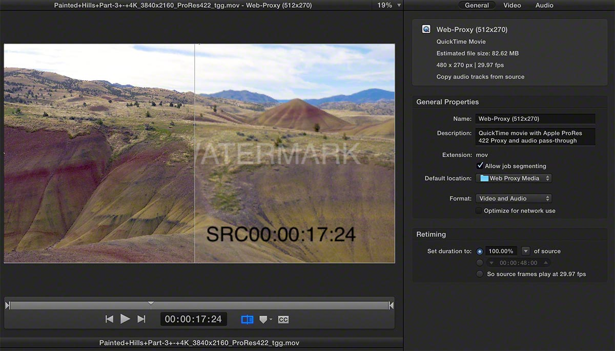 FCPX Watermarked Image Settings