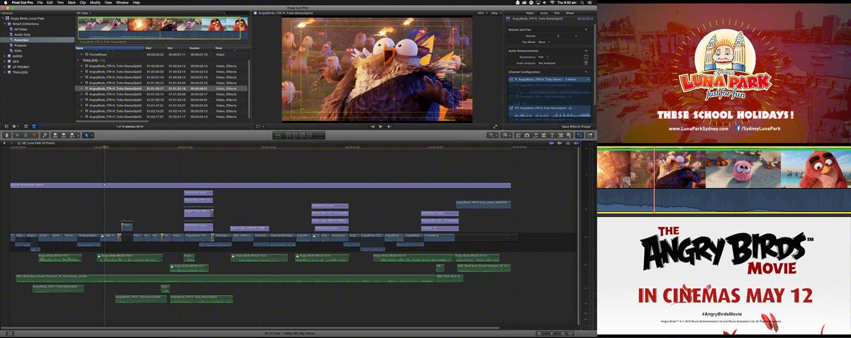 Editing Luna Park's Angry Birds commercial with Final Cut Pro X