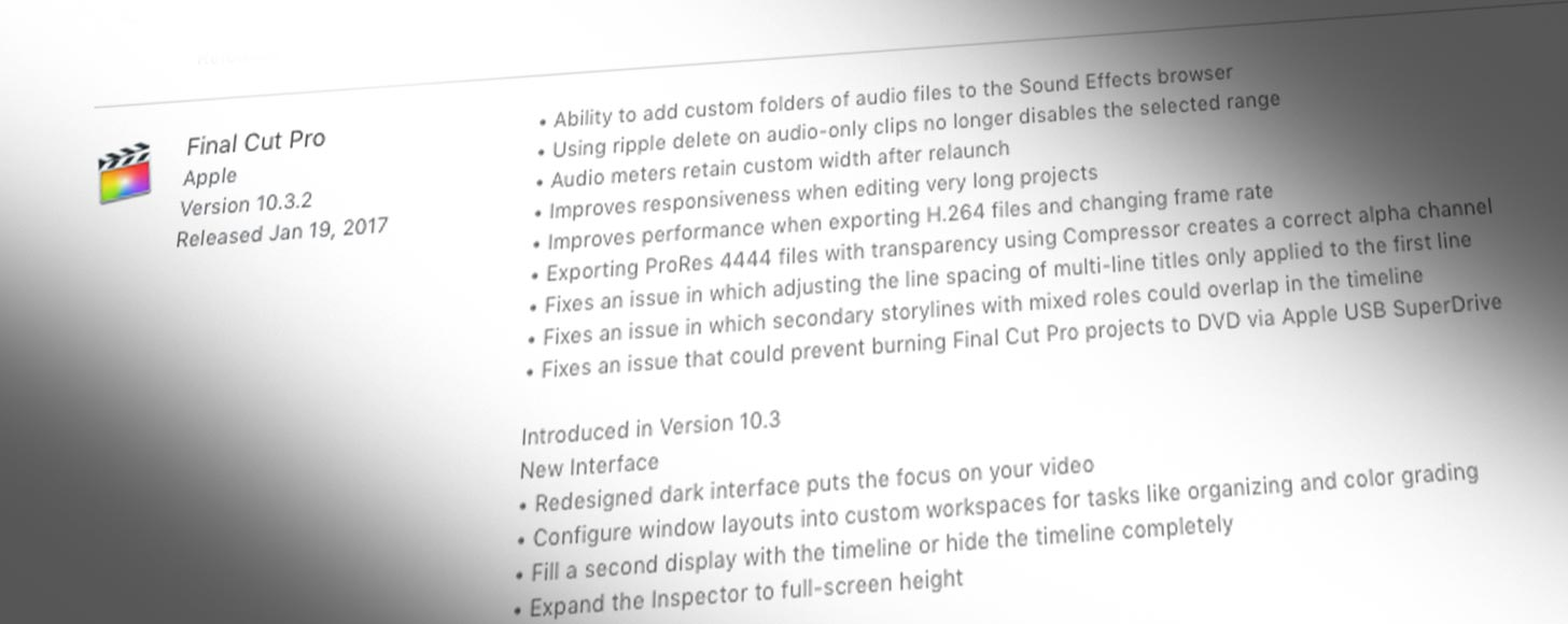 Final Cut Pro X Updated To 10 3 2 Motion To 5 3 1 And Compressor To 4 3 1