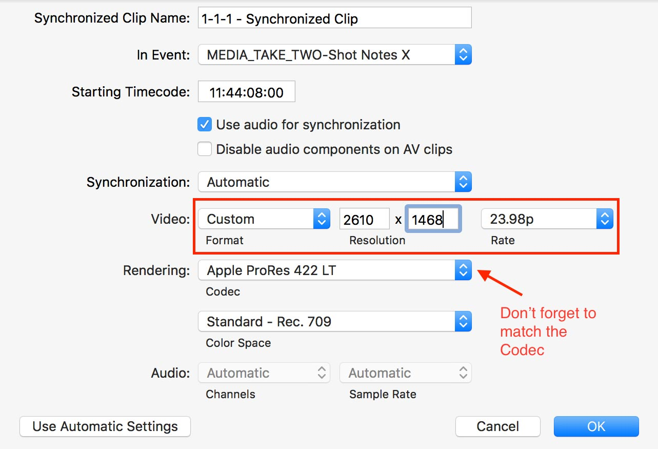 FCPX 3 Manual sync marked