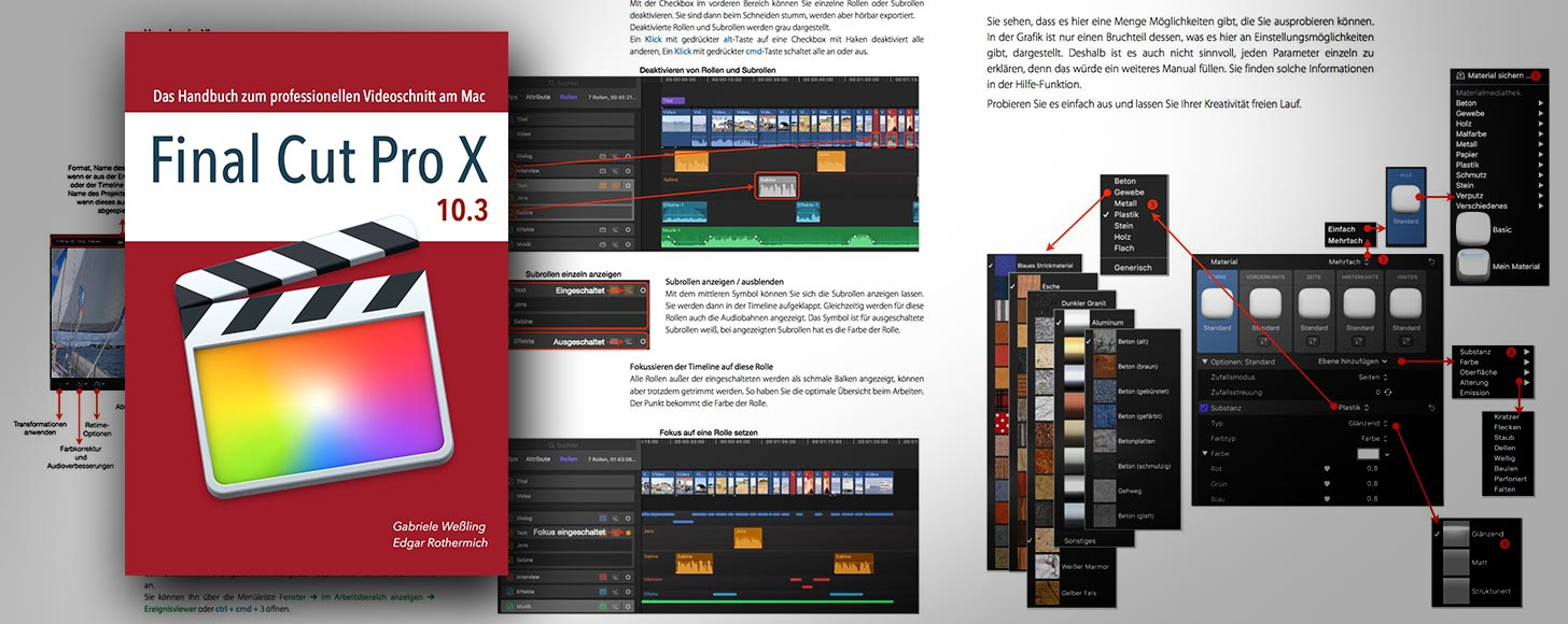 Gabriele Weßling has published a Final Cut Pro X graphic 'how to' manual  for German readers. Priced at €17 for the PDF, it is suitable for beginners  and ...