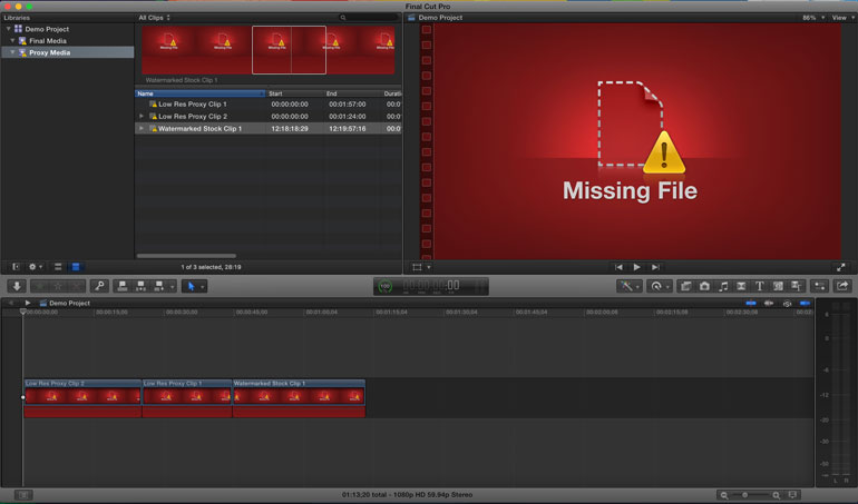 fcpx missing file error