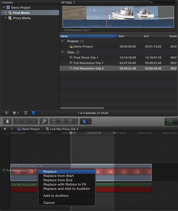 final cut pro x how to force relink media