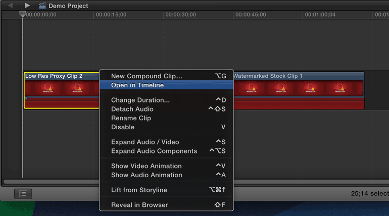 final cut pro x open clip in timeline