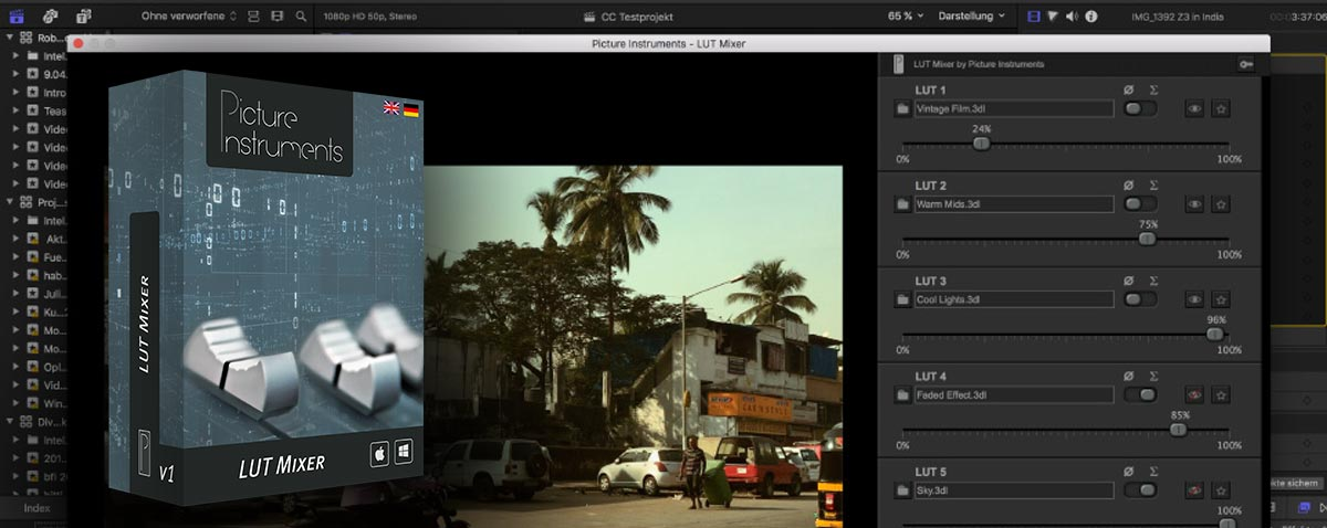 Combine up to 5 LUTs in One FCPX Plugin with LUT Mixer from Picture Instruments