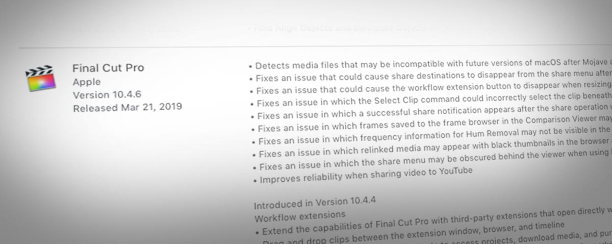 Apple updates Final Cut Pro X to 10 4 6, Motion to 5 4 3 and