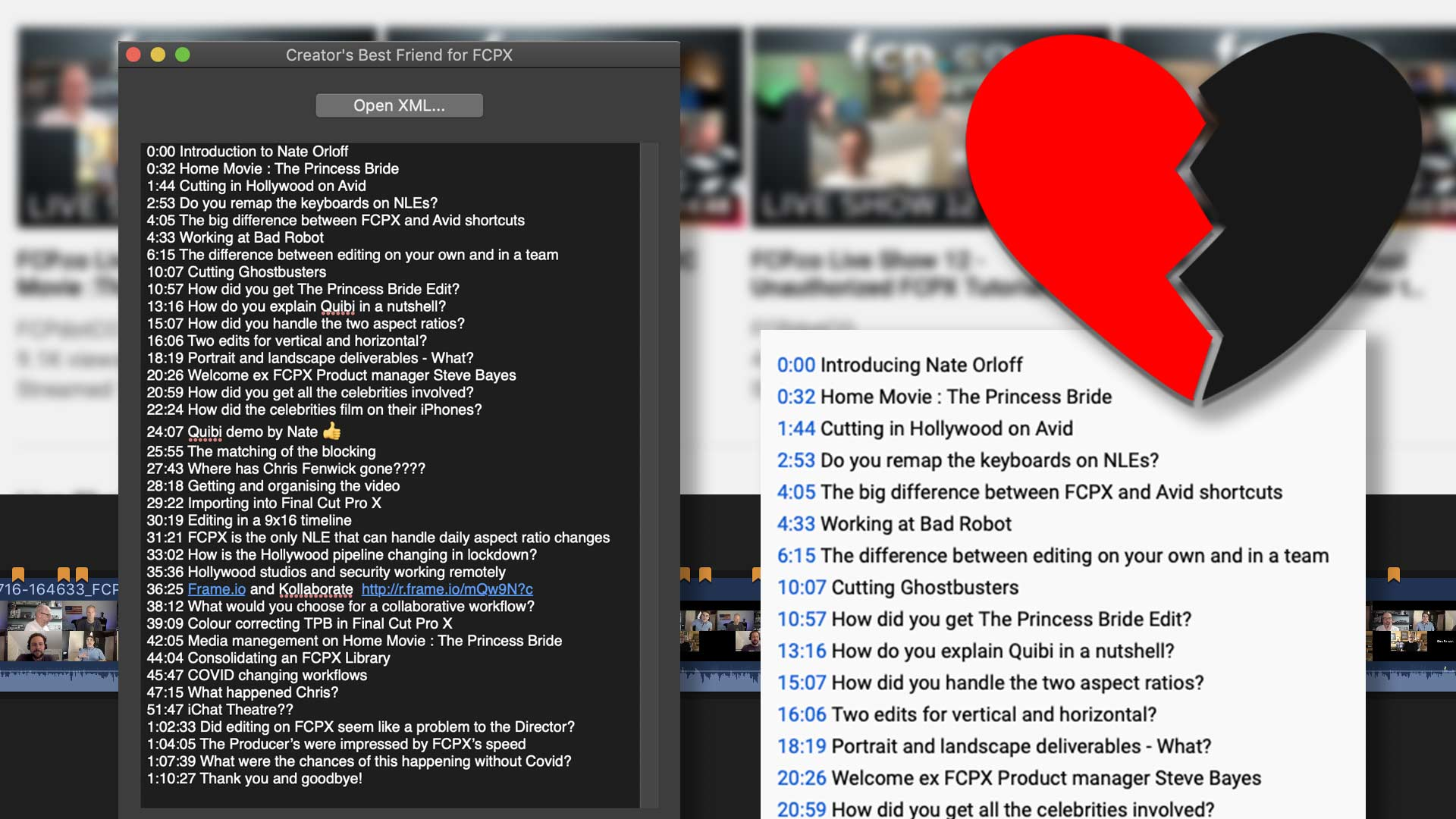 Creator's Best Friend Translates Chapter Markers in Final Cut Pro X to Timestamps and Chapter Segments for YouTube